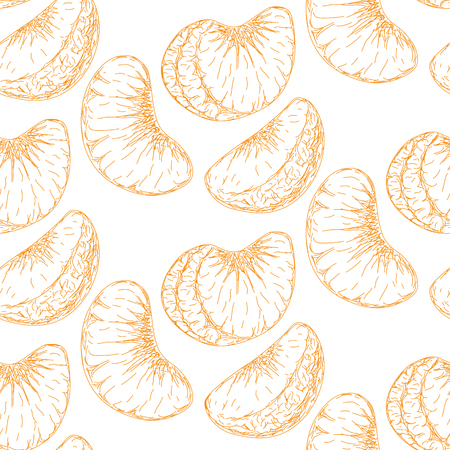 mandarins: nice patern with a picture of a mandarin on a white background Illustration