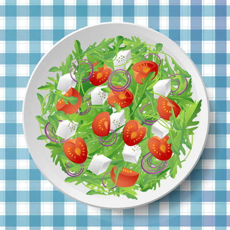 oregano: Vegetable salad with fresh tasty arugula or rocket, rucola, tomatoes, feta cheese, red onion and oregano on white plate on blue tablecloth .Top view close-up vector illustration.