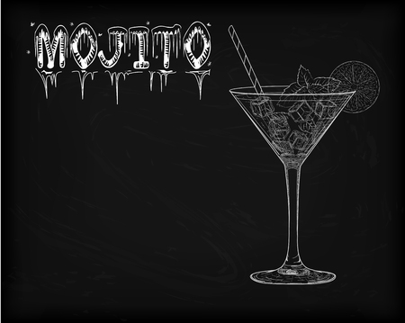 Nice glass of ice cold mojito on a black background. Soda with white rum, mint and lime diluted with sugar syrup. Mojito ingredients scheme drawn in chalk 일러스트