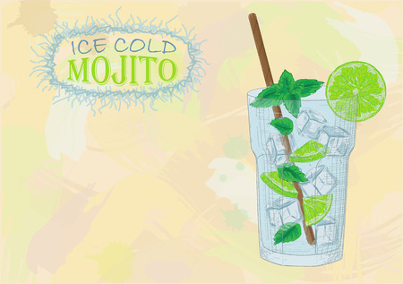 Nice glass of ice cold mojito on a black background. Soda with white rum, mint and lime diluted with sugar syrup. Mojito ingredients scheme