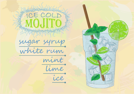 mohito: mojito, mohito, cocktail, vector, illustration, chalk, glass, menu, drink, alcohol, lime, mint, bar, fresh, lemon, cold, summer, beverage, restaurant, cocktails, design, fruit, background, sketch, drawing, juice, tropical, icon, vintage, ingredients, soda