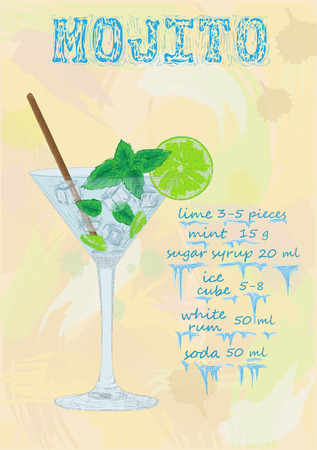 mohito: Nice glass of ice cold mojito on a black background. Soda with white rum, mint and lime diluted with sugar syrup. Mojito ingredients scheme