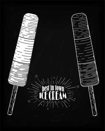 confection: Icecream eskimo pie, tasty frozen stick confection ice cream with delicious organic chocolate glaze frozen juice hand-drawn in chalk on black background with beautiful vintage design inscription. Vertical outline side view black and white vector illustrat