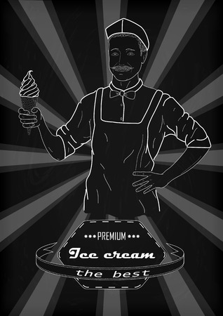 black and white cone: Selling ice cream jacket and hat hand holding ice cream cone in a waffle cup. Vintage drawing with chalk on black and white background with the inscription. Vertical outline side view