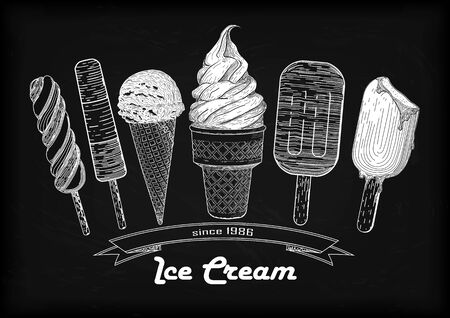 Set icecream soft serve scoop, waffle cup, tasty  ice cream cone with natural delicious organic vanilla creamy taste hand-drawn in chalk on black-gray stripped background with inscription. Vertical outline side view black and white white vector illustrati