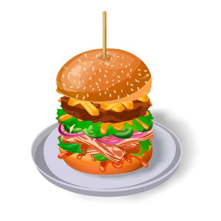 cue ball: Burger skewer on plate