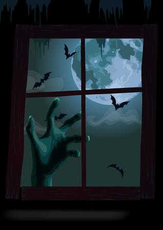 window view: Halloween night window view Illustration