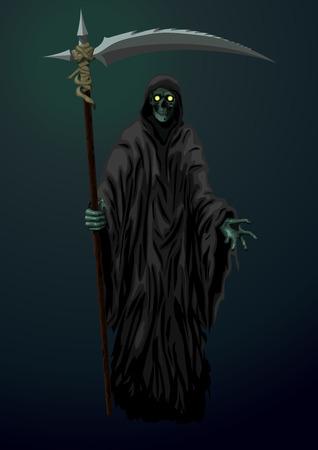 scythe: esqueleto de la muerte escita reaper con guadaña Vectores
