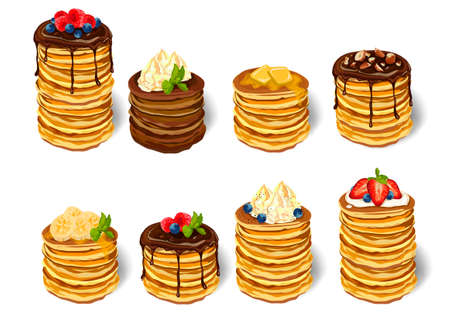 Stack delicious pancakes set Illustration