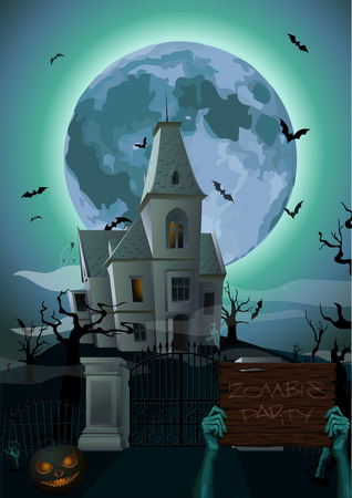 chateau: Halloween night: moon castle chateau zombie hands holding plank with text party ghost carved scary pumpkin trees bat rearmouse. vertical closeup side view sign holiday illustration