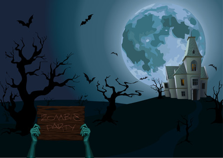 chateau: Halloween night: moon castle chateau zombie hands holding old wooden plank with text party scary trees bat rearmouse. horizontal closeup side view sign illustration celebrate holiday Illustration