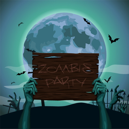 facia: Halloween hands zombie holding hold old brown wooden plate plank sign text party full moon night graves bat rearmouse background.  close-up front view advertising ad image illustration Illustration