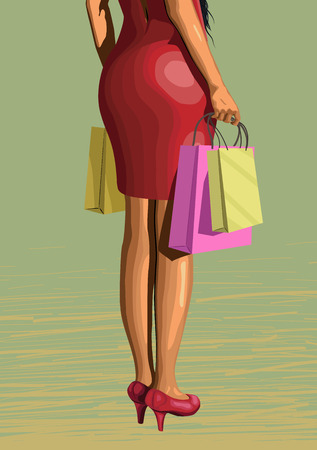 lady legs woman in red dress from shopping with packages pack sun glasses sexy ass backside standing turned back. closeup vertical side view illustration on green background