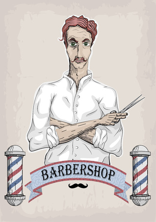 pair of scissors: Man male human hairdresser barber, coiffeur, haircutter in white shirt with foxy hair, folded hands, pair of scissors. vertical closeup front view signboard barbershop barbers salon