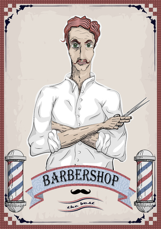 facia: Man male human hairdresser barber, coiffeur, haircutter in white shirt with foxy hair, folded hands, pair of scissors. vertical closeup front view signboard barbershop barbers salon