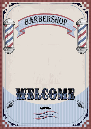 haircutter: Frame border sign signboard fascia or shingle for barber, coiffeur, haircutter, vintage retro inscription barbershop. vertical closeup front view old school signboard  barbers salon