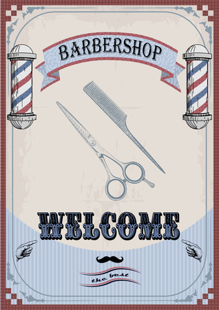 frontal view: Frame border scissors and comb sign shingle for barber, coiffeur, haircutter, vintage retro inscription barbershop. vertical closeup front view old school signboard  barbers salon