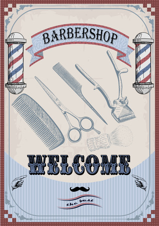 clippers comb: Frame border scissors clippers shears brush swab razor hairclipper blade barber vintage retro barbershop.