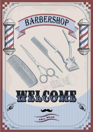 facia: Frame border scissors clippers shears brush swab razor hairclipper blade barber vintage retro barbershop.