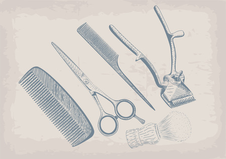 facia: Scissors, clippers shears brush, swab, razor hairclipper blade shingle barber vintage retro barbershop.