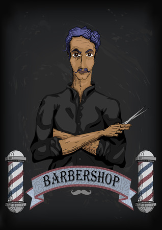 pair of scissors: Man male human hairdresser barber, coiffeur, haircutter in black shirt with purple hair, folded hands, pair of scissors. vertical closeup front view signboard barbershop barbers salon Illustration