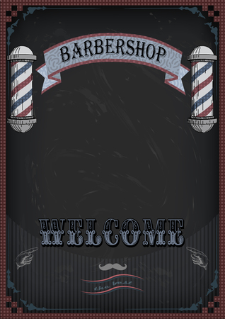 haircutter: Frame border scissors and comb sign shingle for barber, coiffeur, haircutter, vintage retro inscription barbershop. Illustration