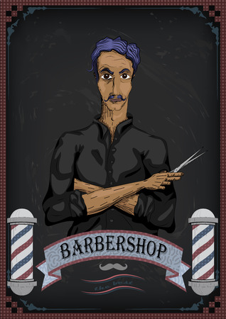 facia: Man male human hairdresser barber, coiffeur, haircutter in black shirt with purple hair, folded hands pair of scissors.