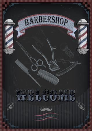 swab: Frame border scissors, shears brush, swab, razor hairclipper blade shingle barber vintage retro inscription barbershop. Illustration