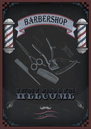 facia: Frame border scissors, shears brush, swab, razor hairclipper blade shingle barber vintage retro inscription barbershop. Illustration