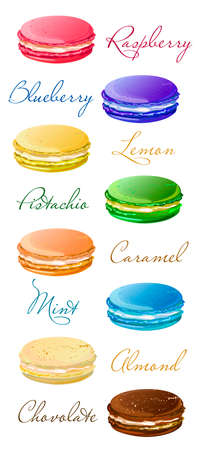 macaron: macaroons savor style variety types, kinds list carte. isolated on white background Illustration