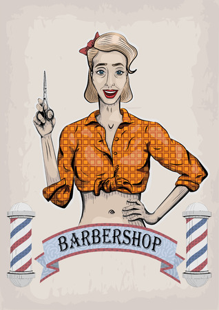 Female woman girl lady hairdresser, barber, beautician has with scissors, shears, shear, clippers worker people portrait. Illustration
