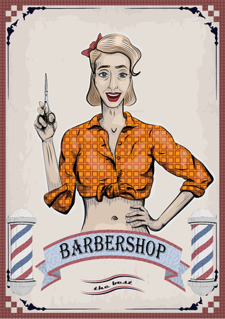 Female woman girl lady hairdresser, barber, beautician has with scissors, shears, shear, clippers worker people portrait. Ilustrace