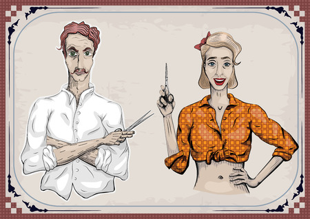 coiffeur: Man male hairdresser barber coiffeur haircutter, female woman girl hairdresser, scissors shears, beautiful people portraits.