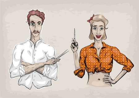 haircutter: Man male hairdresser barber coiffeur haircutter, female woman girl hairdresser, scissors shears, beautiful people portraits.