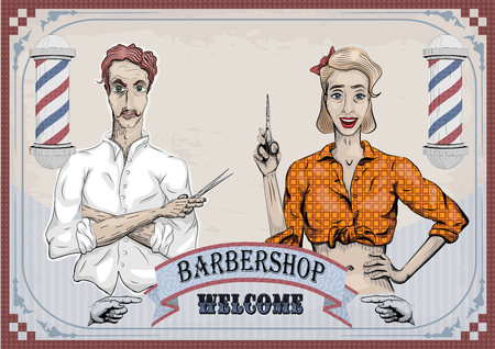haircutter: Man male hairdresser barber coiffeur haircutter, female woman girl hairdresser, scissors shears, people portraits.