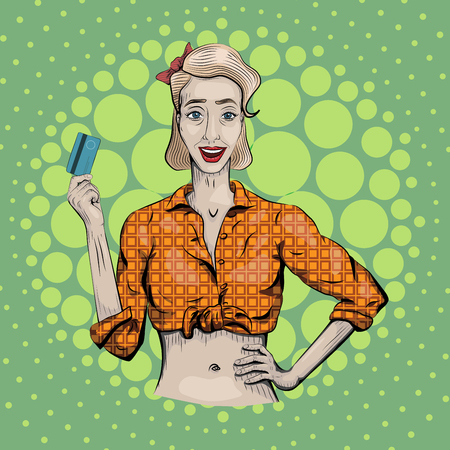 Female woman girl lady hold plastic credit discount card in hand beautiful young, white people shirt portrait. nice retro vertical closeup front view illustration pin up art sign signboard. Illustration