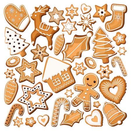 galleta de jengibre: Jengibre jengibre galleta galletas dulces Bisquit diverso ajuste de la manga pastelera navidad decoración de vacaciones de Navidad. Vectores