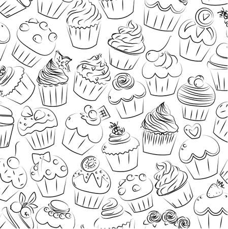 fairy cake: Cupcake, cupcakes muffin fairy patty cup cake cakes muffins pastry confectionery pastries seamless brick pattern. square closeup side view color outline illustration design isolated on white background. Illustration