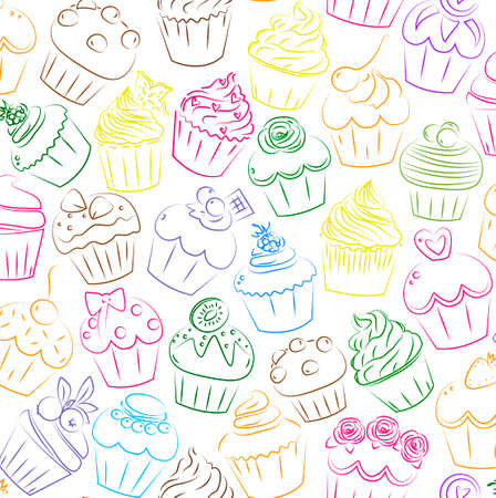 cup cake: Cupcake, cupcakes muffin fairy patty cup cake cakes muffins pastry confectionery pastries seamless brick pattern.