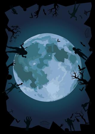 phantom: Halloween night: full moon gate ghost, spook cemetery graves zombie hands trees bat rearmouse. Illustration