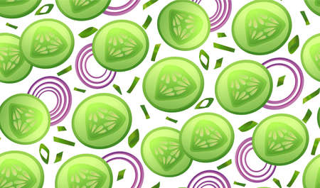 chives: Cucumber fresh slices piece salad, onion circles slice chives seamless pattern . Vector beautiful fabric horizontal closeup top view textile wallpaper background design illustration isolated on white Illustration