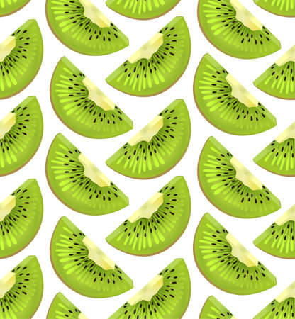 segment: Kiwi apteryx ripe fresh sliced slice cut fruit eco tropical seamless pattern. Vector vertical closeup side view beautiful green illustration segment backdrop wallpaper fabric isolated white background