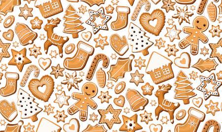 galleta de jengibre: Jengibre jengibre galletas dulces galletas Bisquit ajuste de patrón transparente de Navidad festivo de la Navidad Conjunto diferente. aislado vector hermosa ilustración cuadrada vista desde arriba cubo diseño fondo blanco