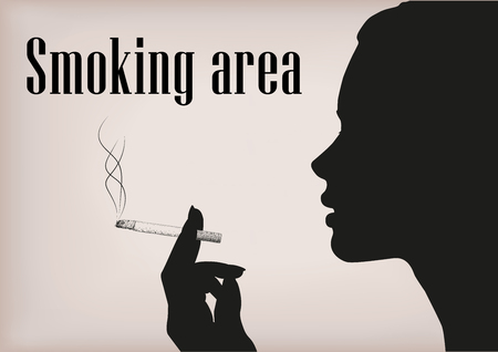 smoking woman: Woman female girl lady person smoke smoking cigarette tobacco hand silhouette face profile smoking area place sign signboard vector horizontal beautiful closeup side view illustration beige background
