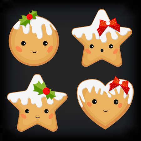 galleta de jengibre: jengibre pan de jengibre galleta galletas corazón divertido lindo estrella plana diferentes emoción establecer la formación de hielo de Navidad vacaciones de Navidad decoración de vectores hermosa plaza vista desde arriba signo primer plano de diseño ilustración de fondo gris