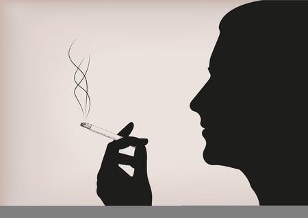 habit: Men man male person smoke smoking cigarette tobacco hand face silhouette profile. Vector horizontal beautiful bad habit area sign signboard close-up side view illustration beige background Illustration
