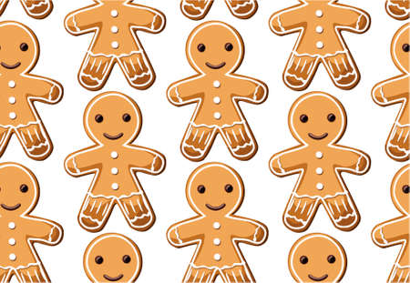 galleta de jengibre: Gingerbread ginger cookie cookies men sweets different set setting Christmas xmas  holiday seamless pattern. Vector beautiful horizontal top view closeup design illustration isolated white background Vectores