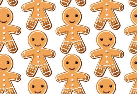 galleta de jengibre: Pan de jengibre galletas de jengibre galletas dulces hombres establecimiento de patrón transparente de Navidad festivo de la Navidad conjunto diferente. Vector aislado ilustración hermosa vista horizontal superior cubo diseño fondo blanco