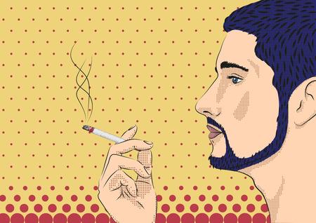 habit: Men male person smoke smoking cigarette tobacco hand model face profile. Vector horizontal beautiful bad habit pop art modern design sign signboard close-up side view illustration color background