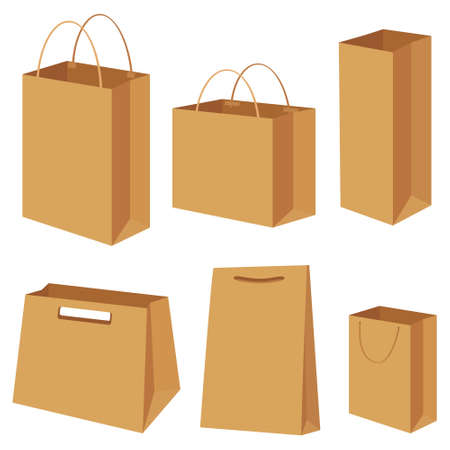 shopping bag vector: Bag paper container box packing shopping commercial gift shop store empty blank package types different set setting collection. Vector closeup side view brown illustration isolated white background